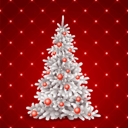 White Christmas tree on red background. photo