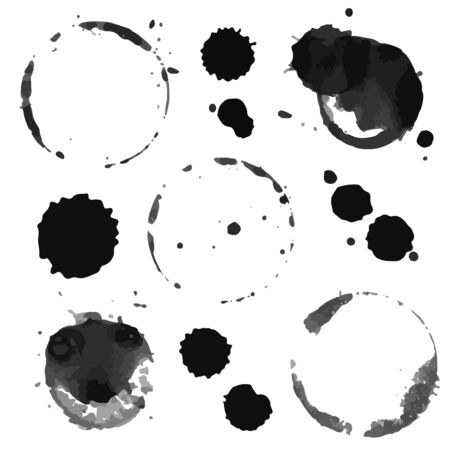 Vector Set of blots and stains of ink. Illustration