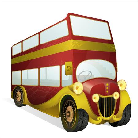 british touring car: Vintage double decker open top bus