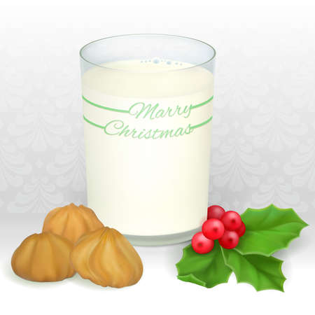 milk and cookies: Milk and cookies for Santa. Illustration contains gradient meshes. Illustration