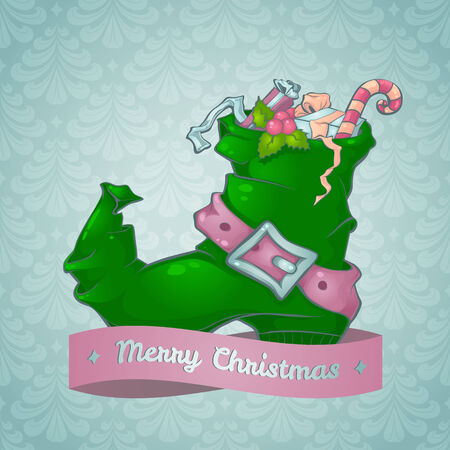 christmas stocking: Christmas card with a boot full of gifts Illustration
