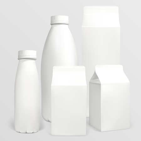 Set of milk cartons. Each object can be used separately. Illustration contains gradient meshes. Reklamní fotografie - 34150217