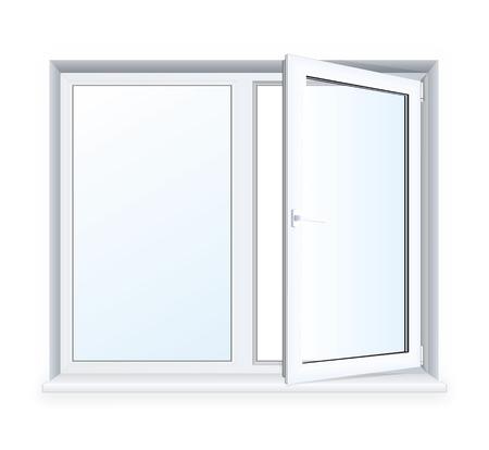 Realistic open plastic window on white background.