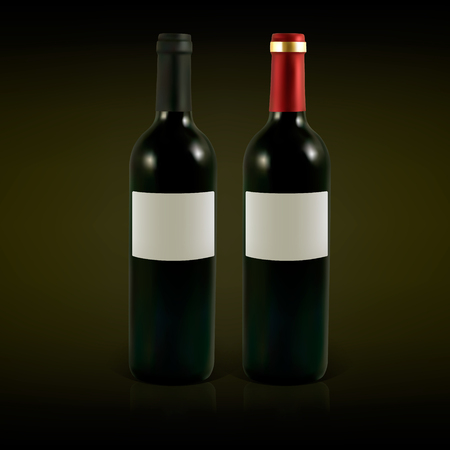vino: Set of vector wine bottles with blank labels. Illustration contains gradient meshes.