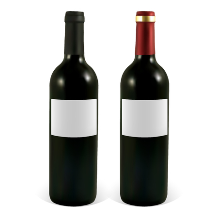 unopened: Set of vector wine bottles with blank labels. Illustration contains gradient meshes.