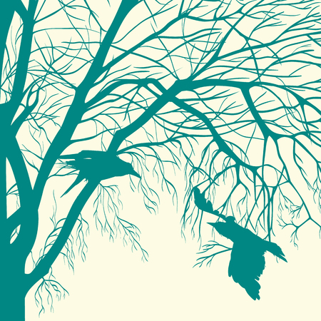 flew: silhouettes of birds flew spring on a tree branch Illustration