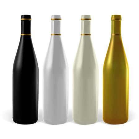 vino: Multi-colored wine bottles. Illustration contains gradient meshes. Illustration