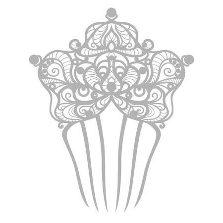 hair beauty: beautiful wedding comb for bride Illustration