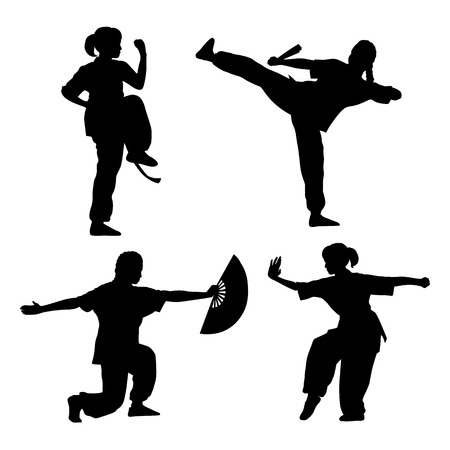 tai chi: young girl in a pose of Wushu