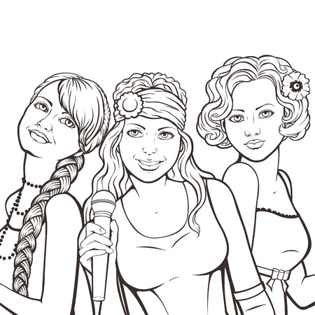 banner with female music group in retro style Vector