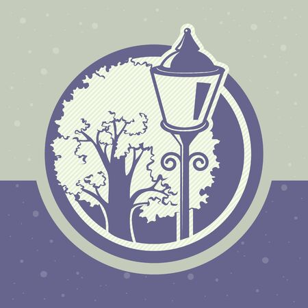 lamppost: card with a tree and a lamppost