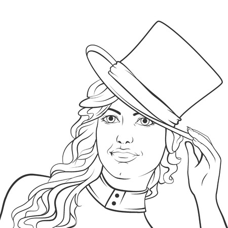 showgirl: girl in a green top hat on a dark background