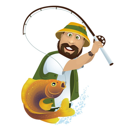 A happy fisherman catches fish from the lake. Illustration
