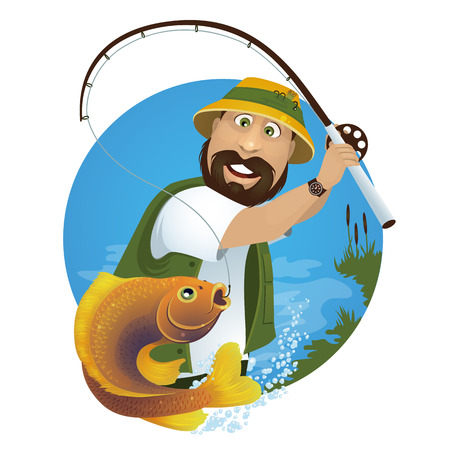A happy fisherman catches fish from the lake. Ilustrace