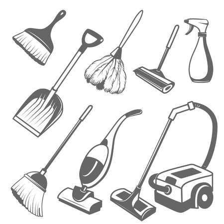 electric broom: set of tools for cleaning on a white background Illustration