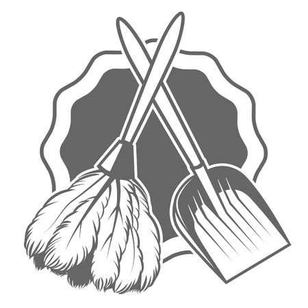 whisk broom: card with a broom maid Illustration