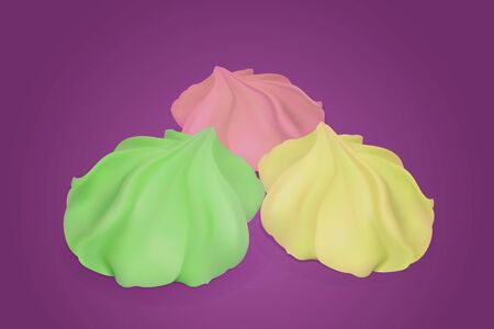 fruitcake: Set of three bright, delicious meringue. Illustration contains gradient meshes.