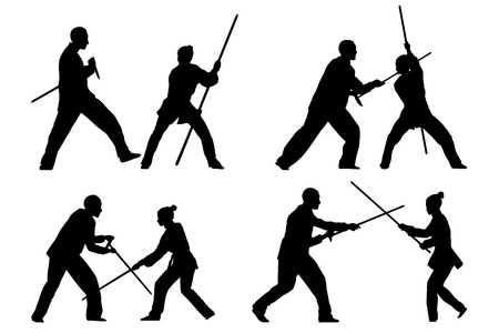 wushu: Vector set of silhouettes: Man and woman show Wushu Tao with a stick.