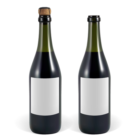 closed corks: open and closed bottle of sparkling wine or champagne Illustration