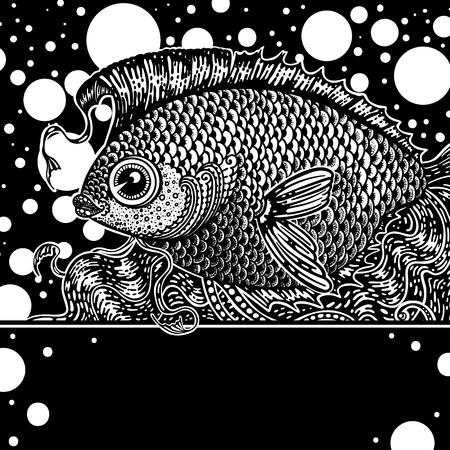 crucian: carp and crucian carp in a fish tank