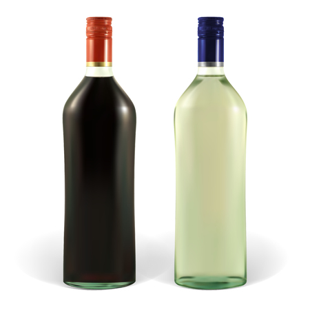 wine label design: Bottle of martini with blank labels. Illustration contains gradient meshes. The label can be removed.