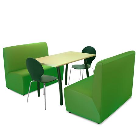 muebles de oficina: mesa, sillas y sofás en el café vegano