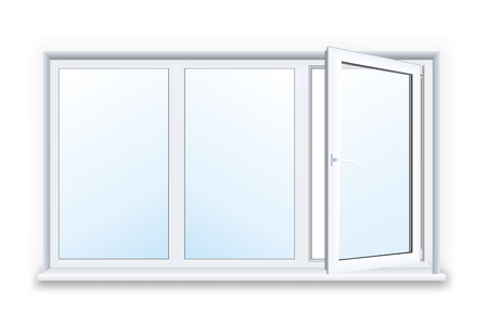 sill: Realistic open plastic window on white background.