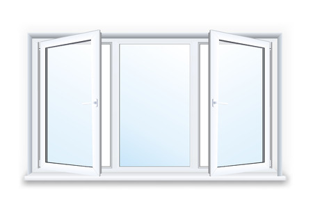white window: Realistic open plastic window on white background.