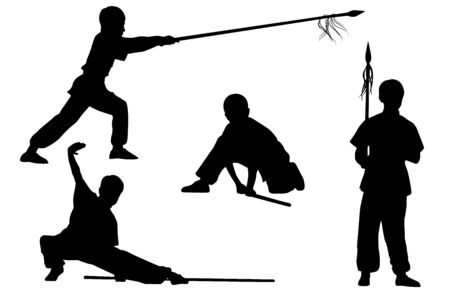 wushu: Vector set of silhouettes: Boy show Wushu Tao with a stick and spear Illustration