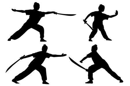 wushu: Vector set of silhouettes: girl show Wushu with saber.