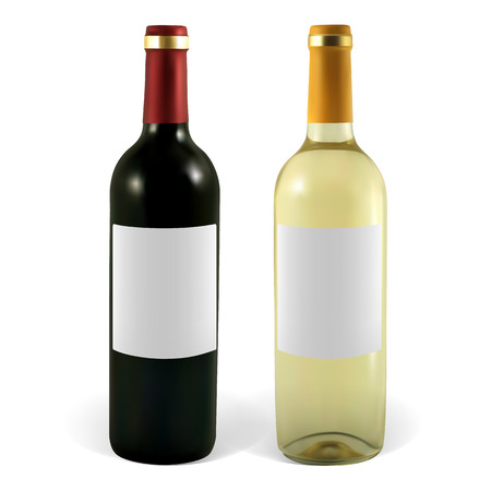 Set of vector wine bottles. Illustration contains gradient meshes. Illustration