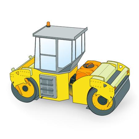 roadwork: small yellow paver Illustration
