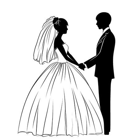 silhouetten van de bruid en bruidegom in de klassieke jurk Stock Illustratie