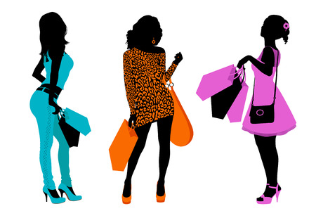 with bag: Silhouettes of women with shopping bags