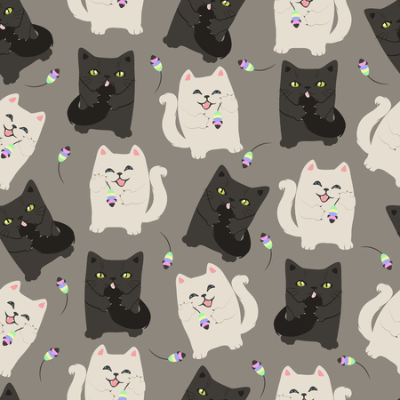 funny cats: Seamless pattern with funny cats