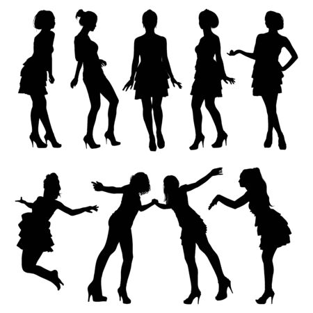 hot teenage girl: Set of vector silhouettes. Beautiful, slim, young girls in different poses. Illustration