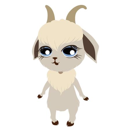 chibi: cute little goat drawn in chibi style