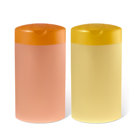 shampoo bottle: Bottles of shampoo or lotion.   Illustration contains gradient mesh.