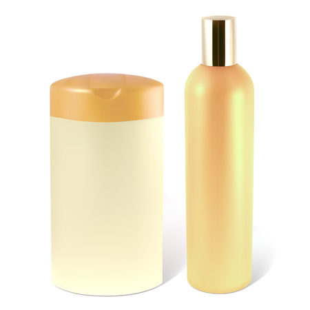 shampoo bottles: Bottles of shampoo or lotion.   Illustration contains gradient mesh.