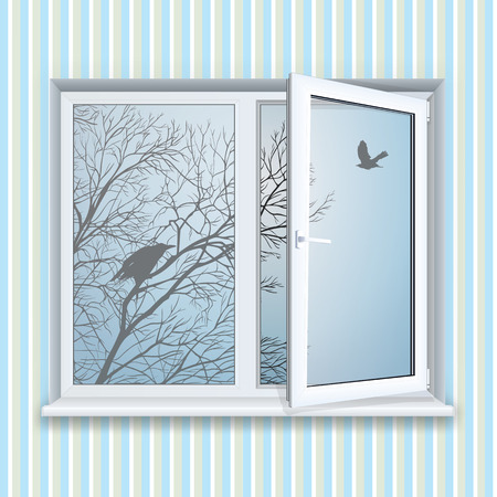 window sill: Realistic open plastic window. Illustration