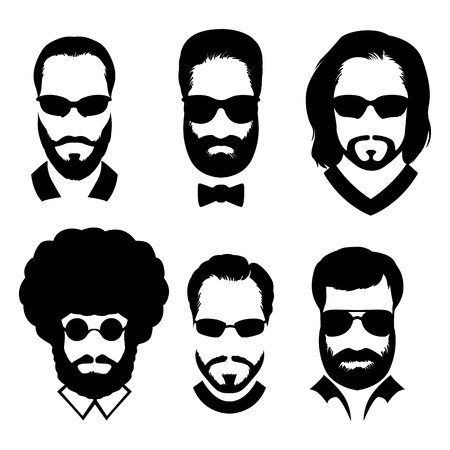 goatee: Silhouettes of men with beard and glasses. Stylish avatars men without faces. Illustration