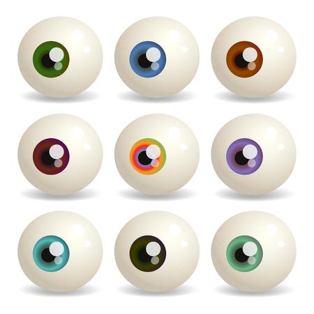 globo ocular: Vector conjunto de globos oculares con diferentes colores del iris. Vectores