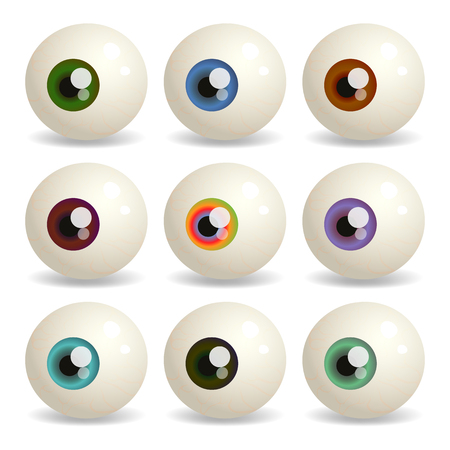 eyeball: Vector set of eyeballs with iris different colors.
