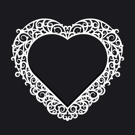 pictureframe: Frame heart with ornate trim on a black background. Design element for wedding or Valentines Day.