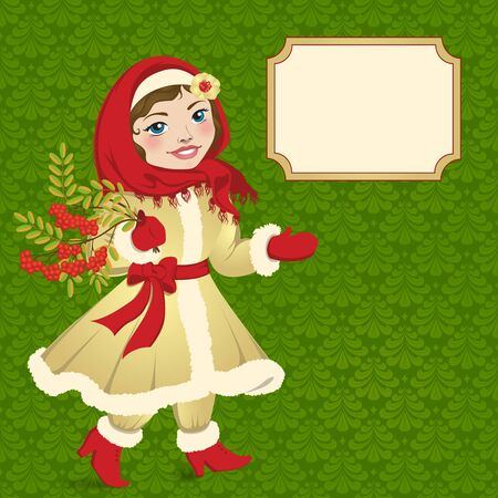 mountain ash: Rural  vintage girl in winter clothing with a branch of a mountain ash in his hand. Illustration
