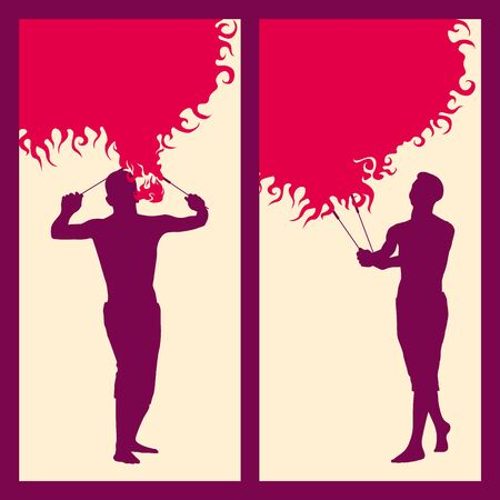 arsonist: silhouette of a man with two torches, performing FIRE show