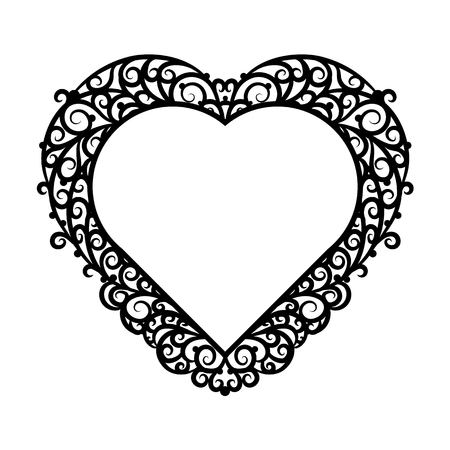 pictureframe: Frame heart with ornate trim on a white background. Design element for wedding or Valentines Day.