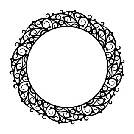 pictureframe: Round frame with rich ornate decoration on a white background. Design element for processing texts, cards