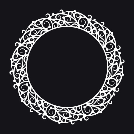 pictureframe: Round frame with rich ornate decoration on a black background. Design element for processing texts, cards