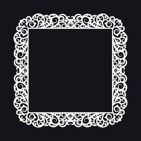 pictureframe: A square frame with a rich ornate decoration on a black background. Design element for processing texts, cards